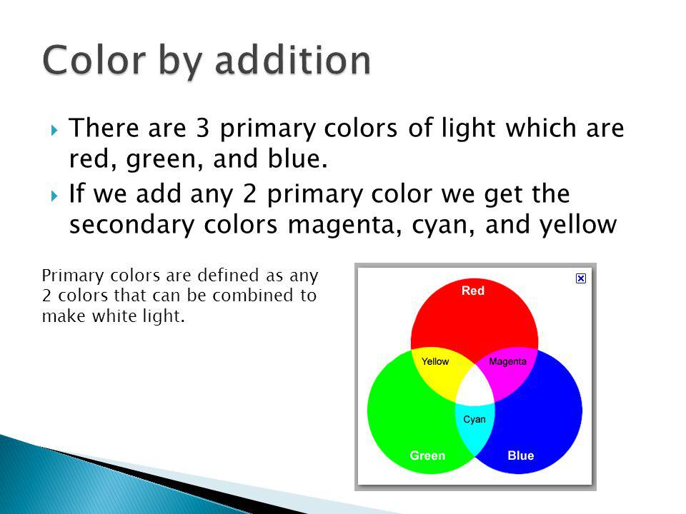  There are 3 primary colors of light which are red, green, and blue.