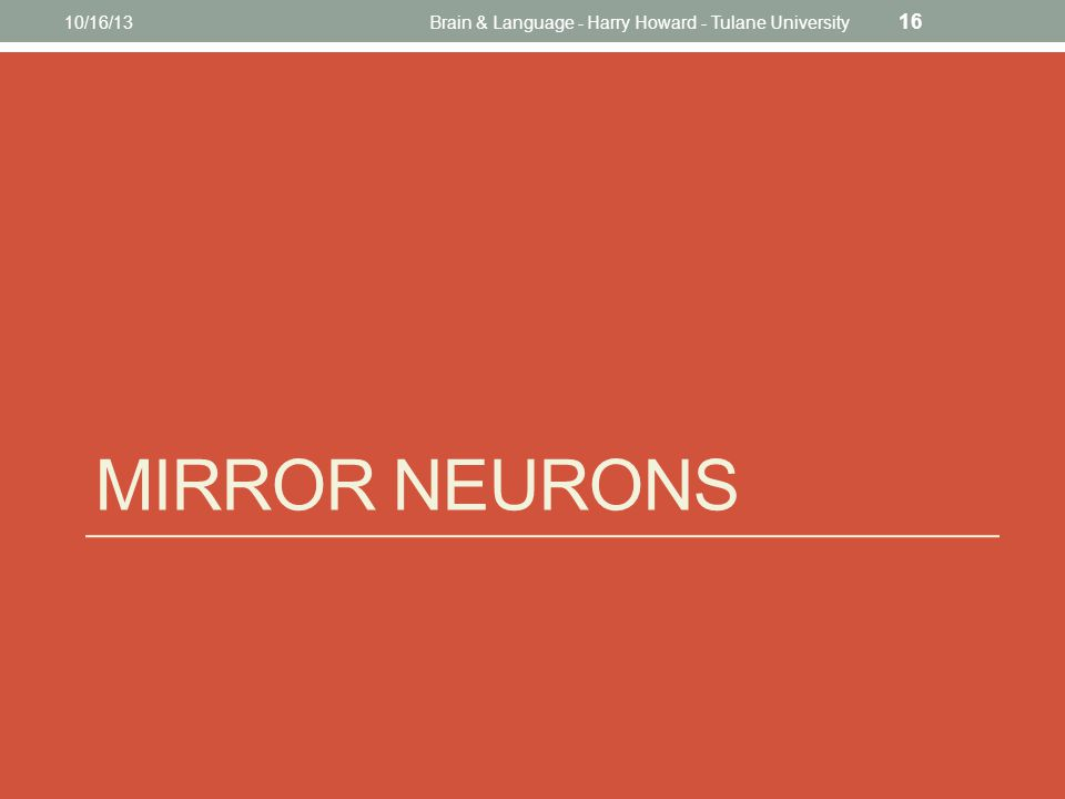 MIRROR NEURONS 10/16/13Brain & Language - Harry Howard - Tulane University 16