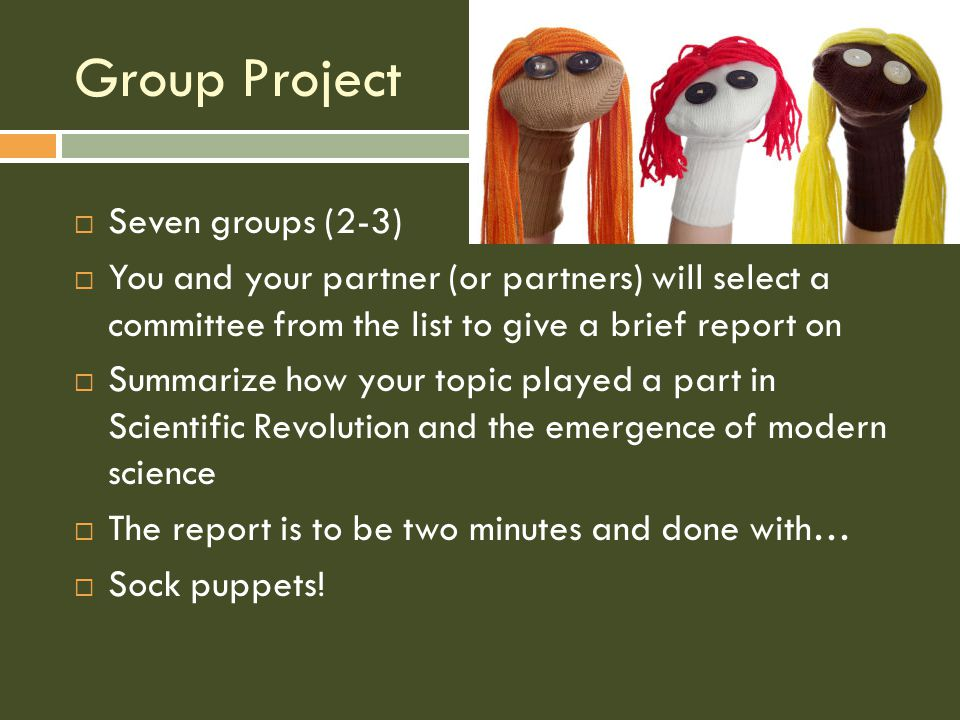 Group Project SSeven groups (2-3) YYou and your partner (or partners) will select a committee from the list to give a brief report on SSummarize how your topic played a part in Scientific Revolution and the emergence of modern science TThe report is to be two minutes and done with… SSock puppets!