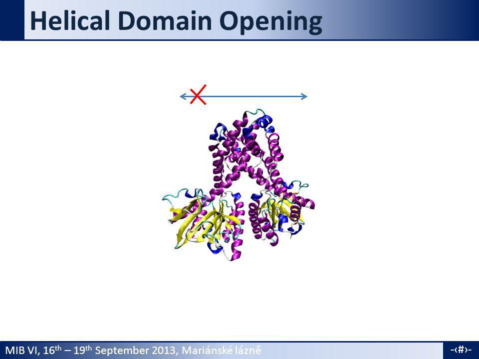 MIB VI, 16 th – 19 th September 2013, Mariánské lázně -9- Helical Domain Opening