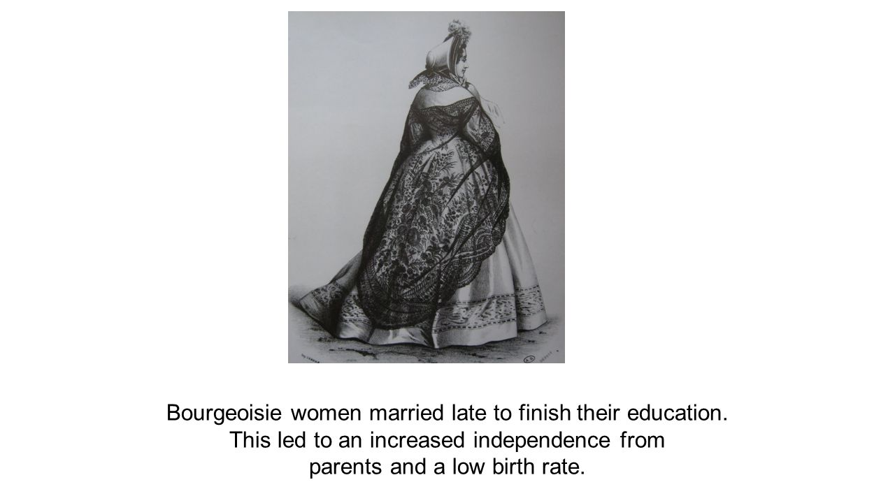 Bourgeoisie women married late to finish their education.