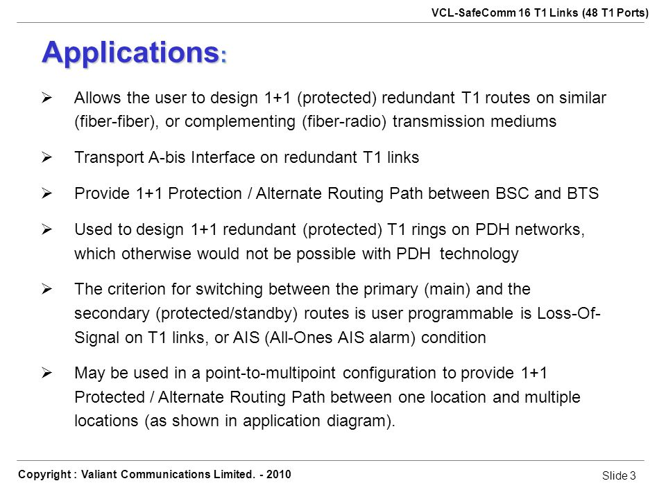 Slide 3 VCL-SafeComm 16 T1 Links (48 T1 Ports) Copyright : Valiant Communications Limited.
