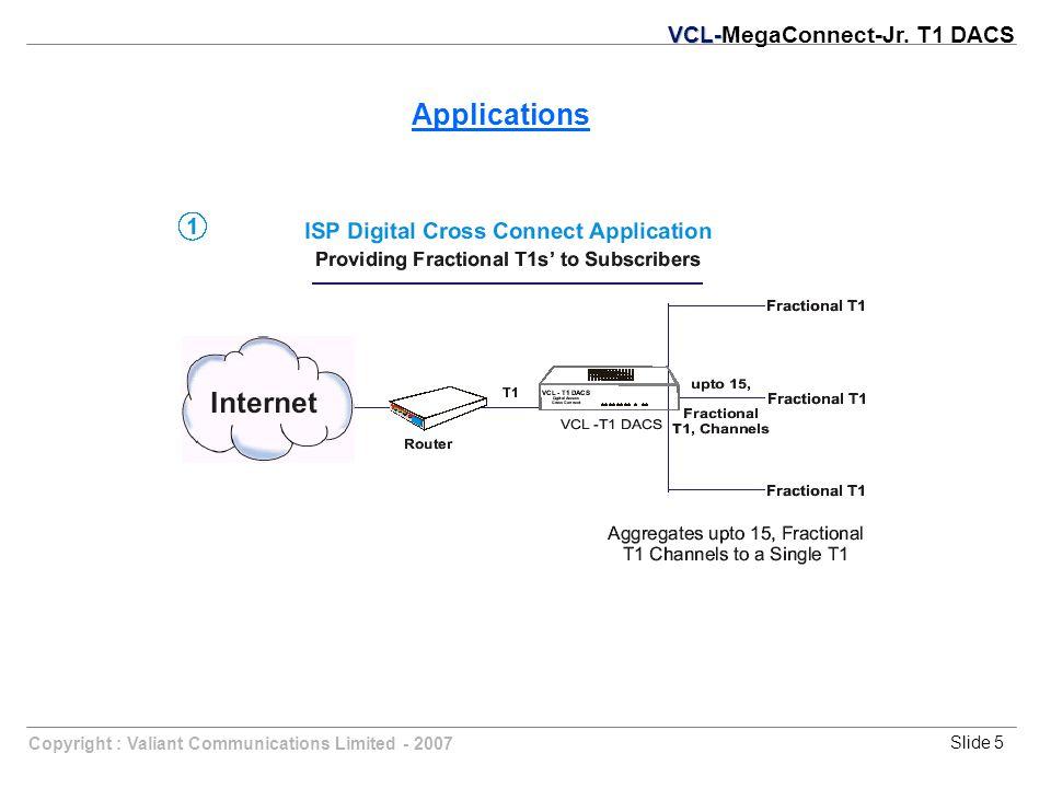 Slide 5Copyright : Valiant Communications Limited - 2007 Applications VCL- VCL-MegaConnect-Jr. T1 DACS