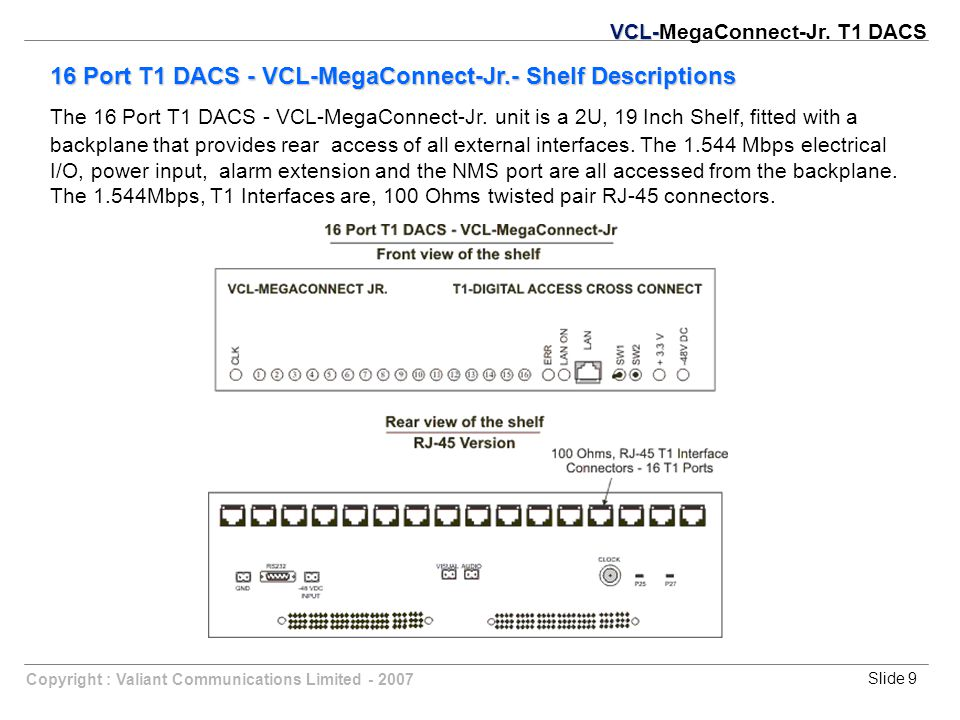 Slide 9Copyright : Valiant Communications Limited - 2007 16 Port T1 DACS - VCL-MegaConnect-Jr.- Shelf Descriptions The 16 Port T1 DACS - VCL-MegaConnect-Jr.