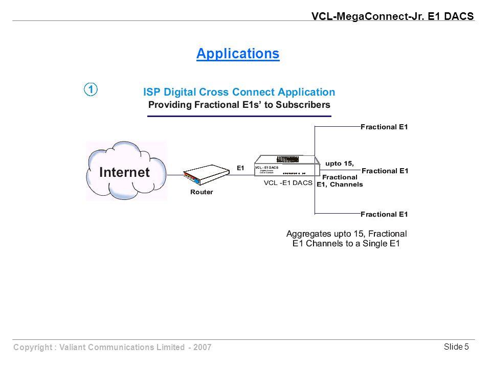 Slide 5Copyright : Valiant Communications Limited - 2007 Applications VCL- VCL-MegaConnect-Jr. E1 DACS