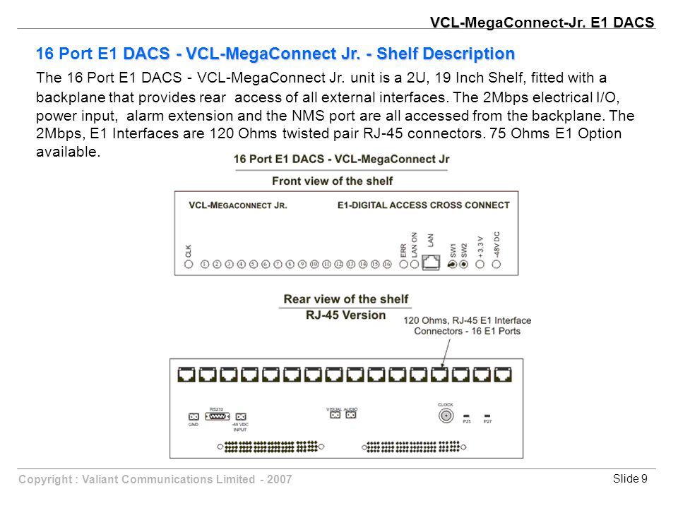 Slide 9Copyright : Valiant Communications Limited - 2007 DACS - VCL-MegaConnect Jr.