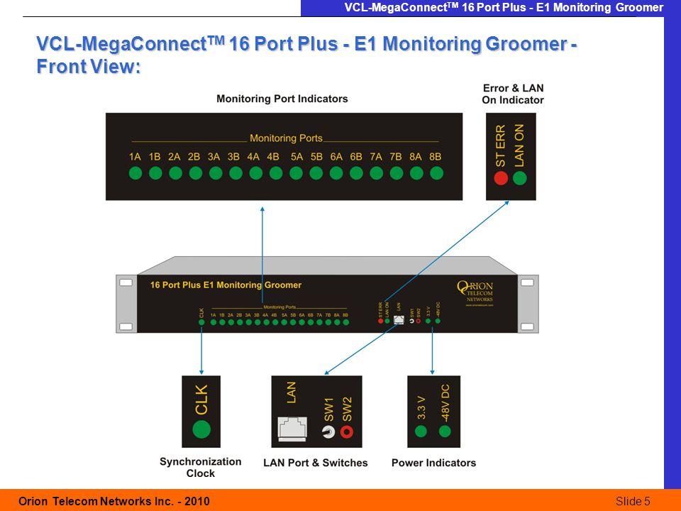 Slide 5 Orion Telecom Networks Inc. - 2010Slide 5 VCL-MegaConnect TM 16 Port Plus - E1 Monitoring Groomer VCL-MegaConnect TM 16 Port Plus - E1 Monitor