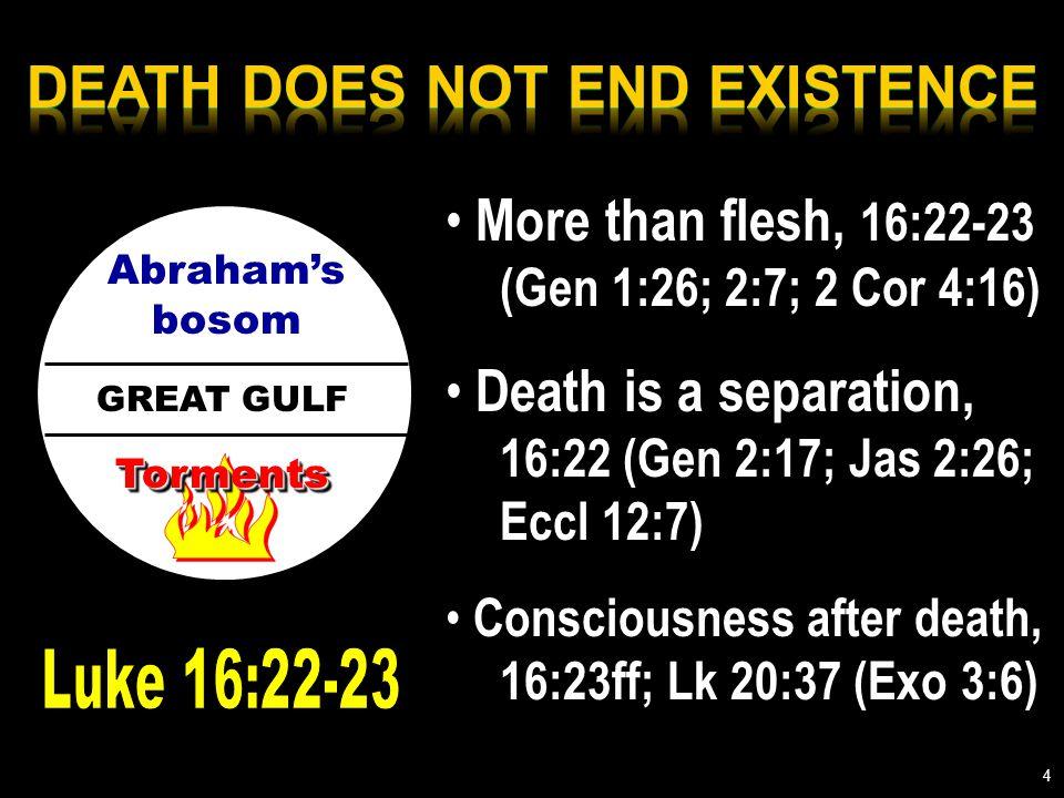 GREAT GULF Abraham's bosom TormentsTorments More than flesh, 16:22-23 (Gen 1:26; 2:7; 2 Cor 4:16) Death is a separation, 16:22 (Gen 2:17; Jas 2:26; Eccl 12:7) Consciousness after death, 16:23ff; Lk 20:37 (Exo 3:6) 4