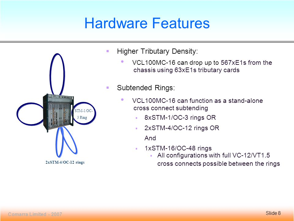 Slide 8 VCL100MC-16 Comarra Limited - 2007 Slide 8  Higher Tributary Density: VCL100MC-16 can drop up to 567xE1s from the chassis using 63xE1s tributary cards  Subtended Rings: VCL100MC-16 can function as a stand-alone cross connect subtending  8xSTM-1/OC-3 rings OR  2xSTM-4/OC-12 rings OR And  1xSTM-16/OC-48 rings  All configurations with full VC-12/VT1.5 cross connects possible between the rings Hardware Features 2xSTM-4/OC-12 rings STM-1/OC- 3 Ring
