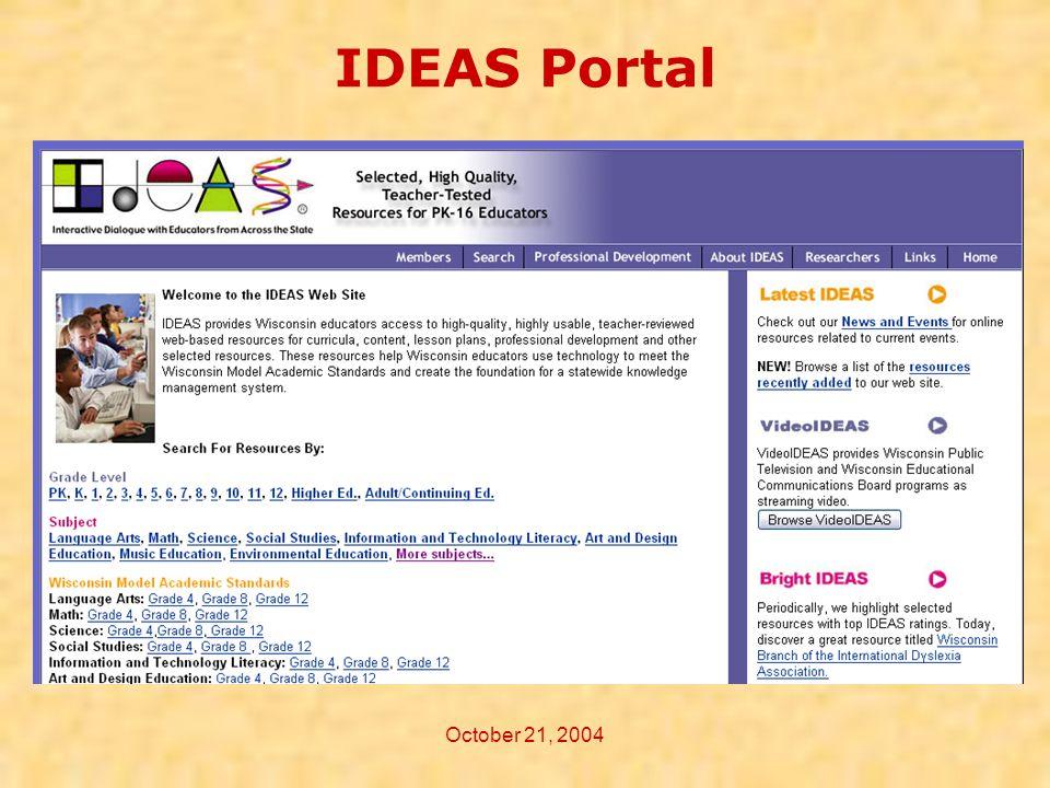 October 21, 2004 IDEAS Portal