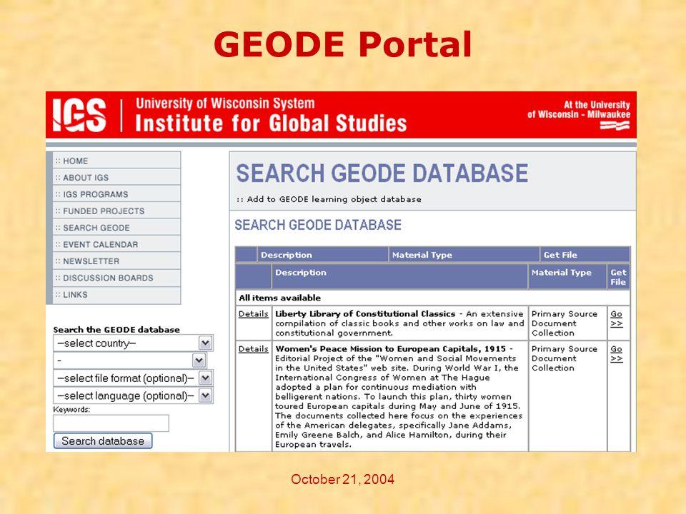 October 21, 2004 GEODE Portal