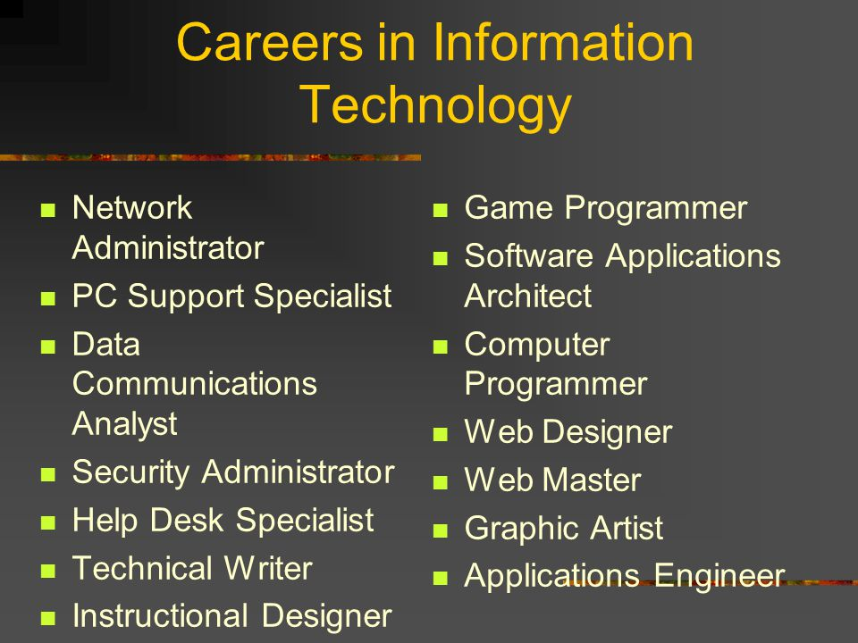 Careers in Information Technology Network Administrator PC Support Specialist Data Communications Analyst Security Administrator Help Desk Specialist Technical Writer Instructional Designer Game Programmer Software Applications Architect Computer Programmer Web Designer Web Master Graphic Artist Applications Engineer