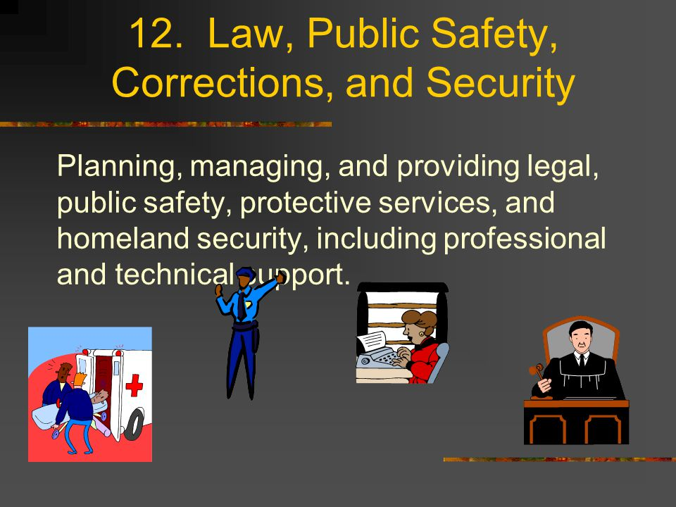 12. Law, Public Safety, Corrections, and Security Planning, managing, and providing legal, public safety, protective services, and homeland security,