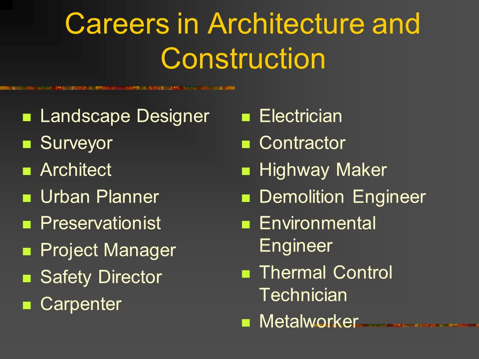 Careers in Architecture and Construction Landscape Designer Surveyor Architect Urban Planner Preservationist Project Manager Safety Director Carpenter Electrician Contractor Highway Maker Demolition Engineer Environmental Engineer Thermal Control Technician Metalworker