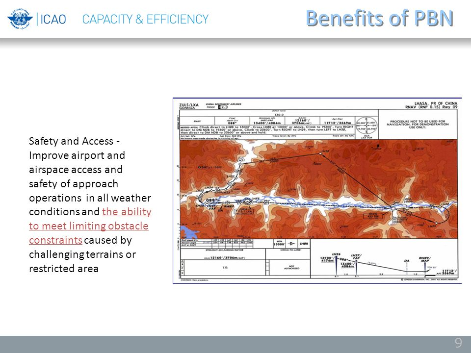 Benefits of PBN 9 Safety and Access - Improve airport and airspace access and safety of approach operations in all weather conditions and the ability
