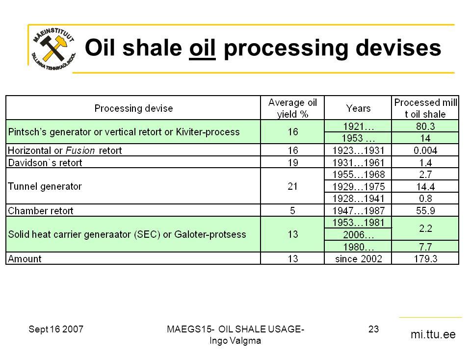 mi.ttu.ee Sept 16 2007MAEGS15- OIL SHALE USAGE- Ingo Valgma 23 Oil shale oil processing devises