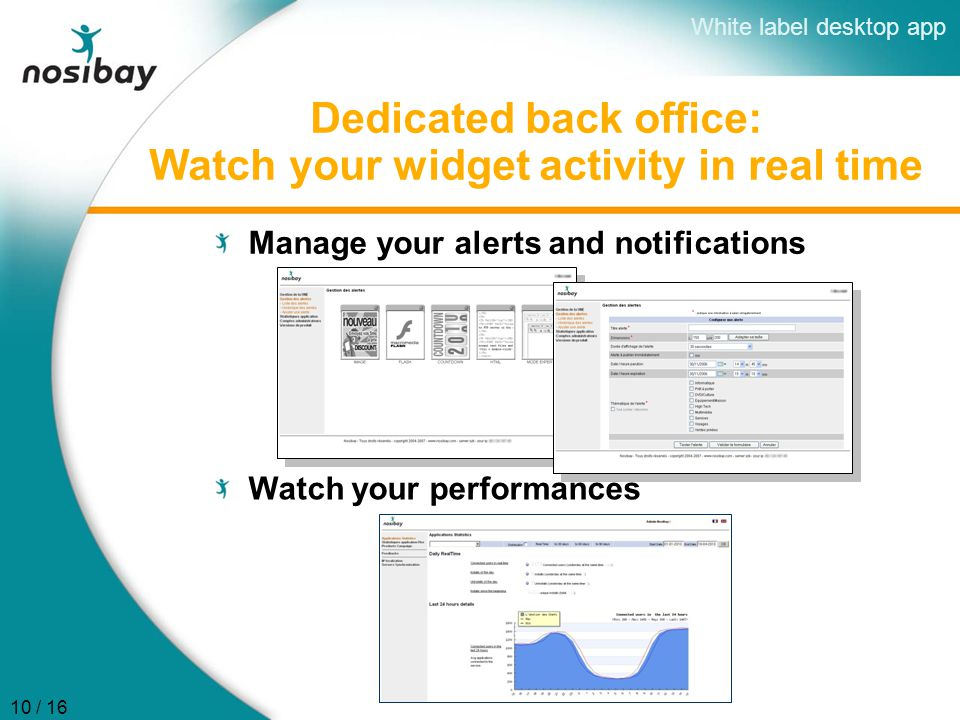 Dedicated back office: Watch your widget activity in real time Manage your alerts and notifications Watch your performances White label desktop app 10 / 16