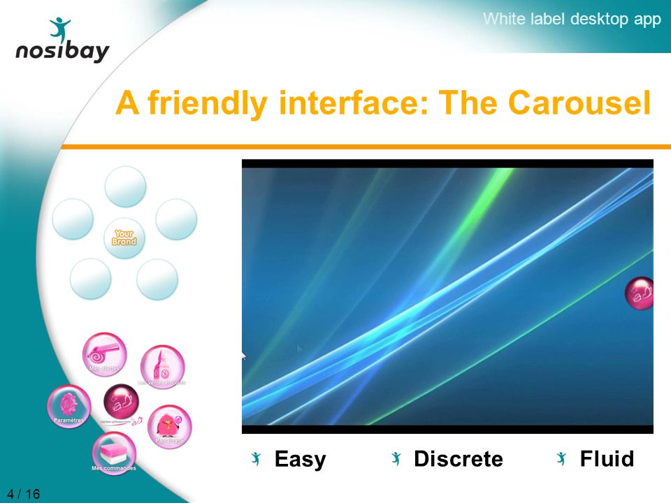 A friendly interface: The Carousel Fluid Discrete Easy White label desktop app 4 / 16