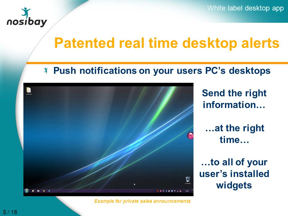 Patented real time desktop alerts Push notifications on your users PC's desktops Send the right information… Example for private sales announcements W