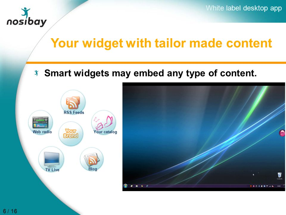 Your widget with tailor made content Smart widgets may embed any type of content. RSS Feeds Your catalog Web radio TV Live Blog White label desktop ap