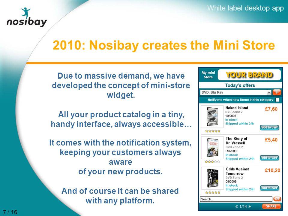 2010: Nosibay creates the Mini Store Due to massive demand, we have developed the concept of mini-store widget.