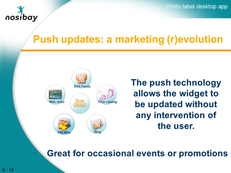 Push updates: a marketing (r)evolution RSS Feeds Your catalog Web radio TV Live Blog The push technology allows the widget to be updated without PROMO