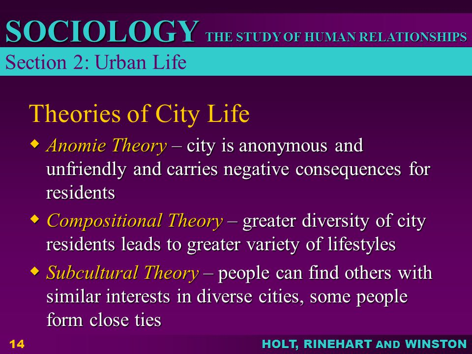 THE STUDY OF HUMAN RELATIONSHIPS SOCIOLOGY HOLT, RINEHART AND WINSTON 14 Theories of City Life  Anomie Theory – city is anonymous and unfriendly and carries negative consequences for residents  Compositional Theory – greater diversity of city residents leads to greater variety of lifestyles  Subcultural Theory – people can find others with similar interests in diverse cities, some people form close ties Section 2: Urban Life