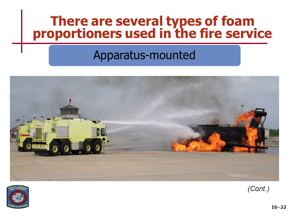 There are several types of foam proportioners used in the fire service 16–22 (Cont.) Apparatus-mounted
