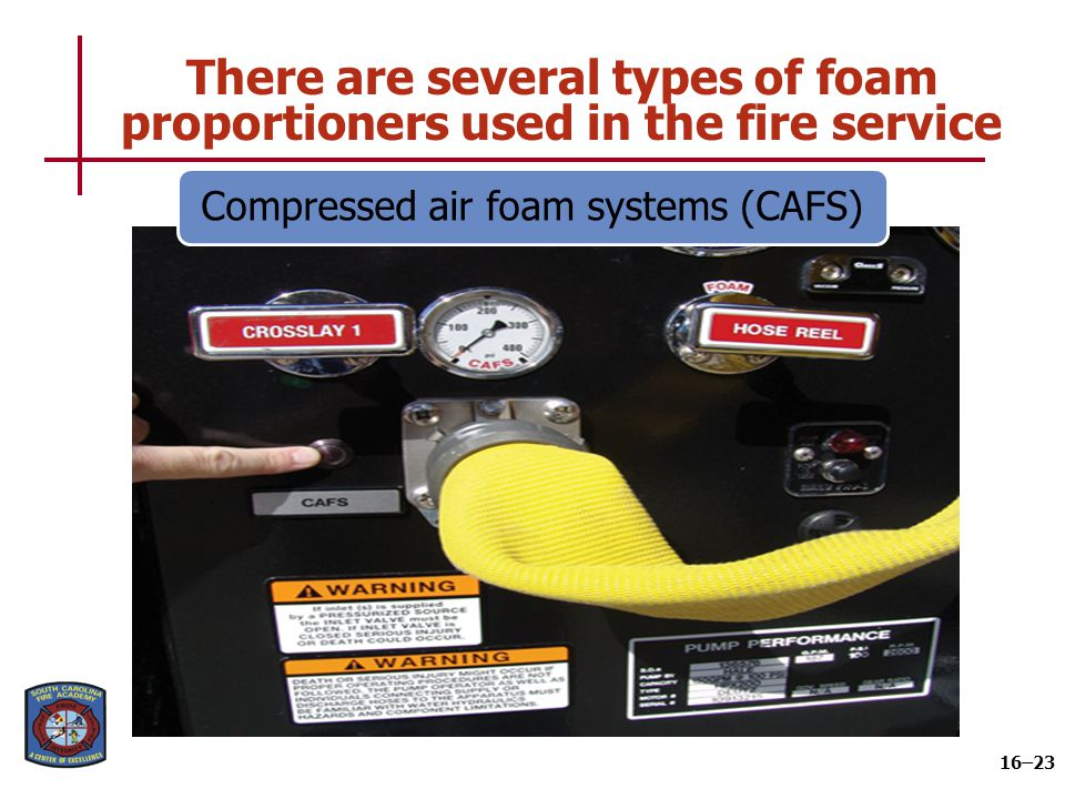 There are several types of foam proportioners used in the fire service 16–23 Compressed air foam systems (CAFS)