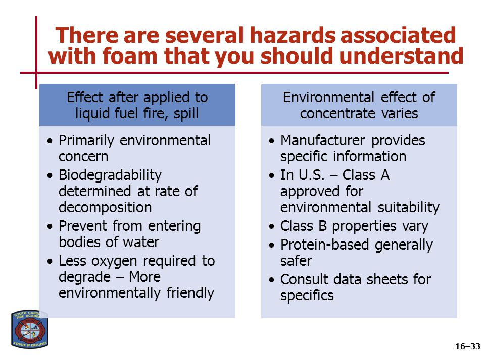 There are several hazards associated with foam that you should understand 16–33 Effect after applied to liquid fuel fire, spill Primarily environmenta