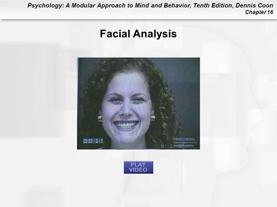Psychology: A Modular Approach to Mind and Behavior, Tenth Edition, Dennis Coon Chapter 16 Facial Analysis