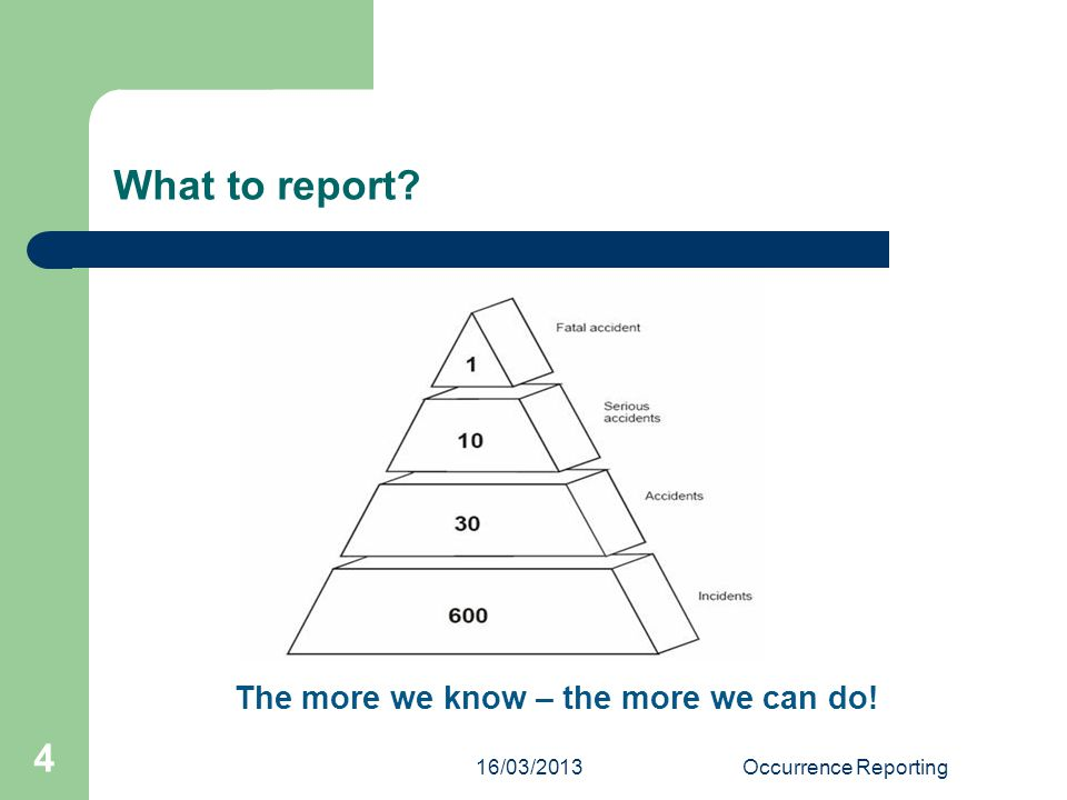 16/03/2013Occurrence Reporting 4 What to report The more we know – the more we can do!
