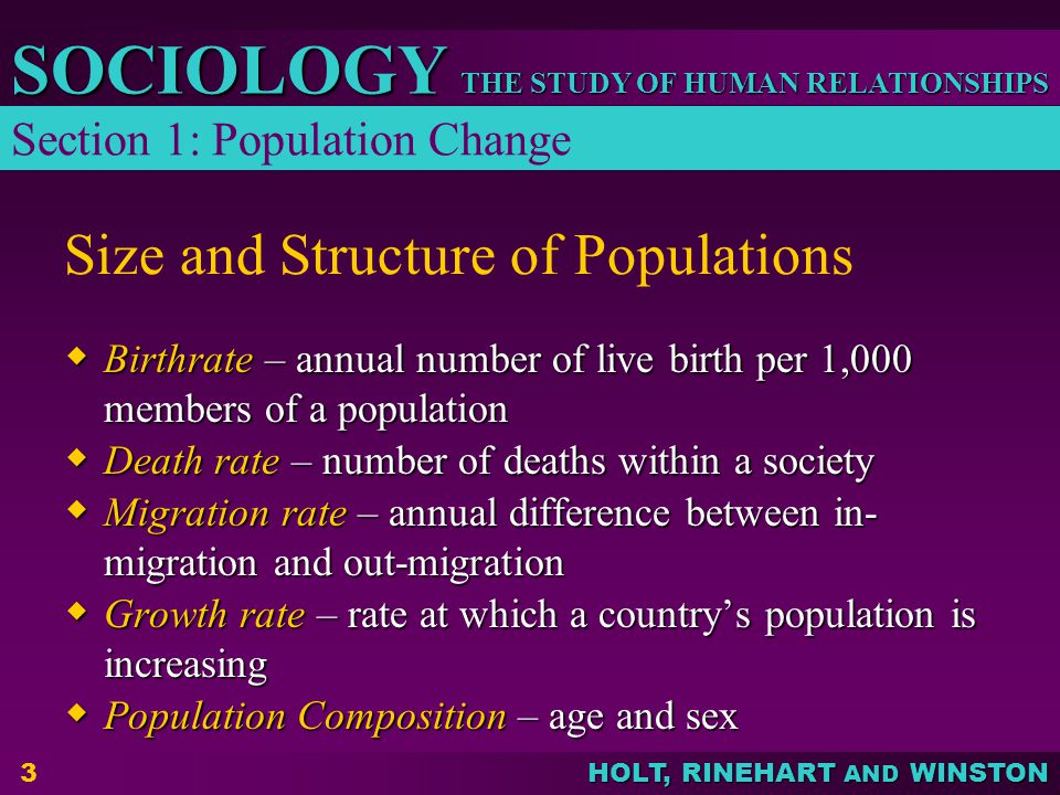 THE STUDY OF HUMAN RELATIONSHIPS SOCIOLOGY HOLT, RINEHART AND WINSTON 3 Size and Structure of Populations  Birthrate – annual number of live birth pe