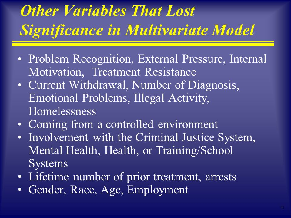43 Other Variables That Lost Significance in Multivariate Model Problem Recognition, External Pressure, Internal Motivation, Treatment Resistance Current Withdrawal, Number of Diagnosis, Emotional Problems, Illegal Activity, Homelessness Coming from a controlled environment Involvement with the Criminal Justice System, Mental Health, Health, or Training/School Systems Lifetime number of prior treatment, arrests Gender, Race, Age, Employment