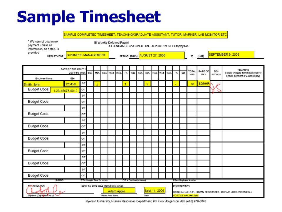 Sample Timesheet