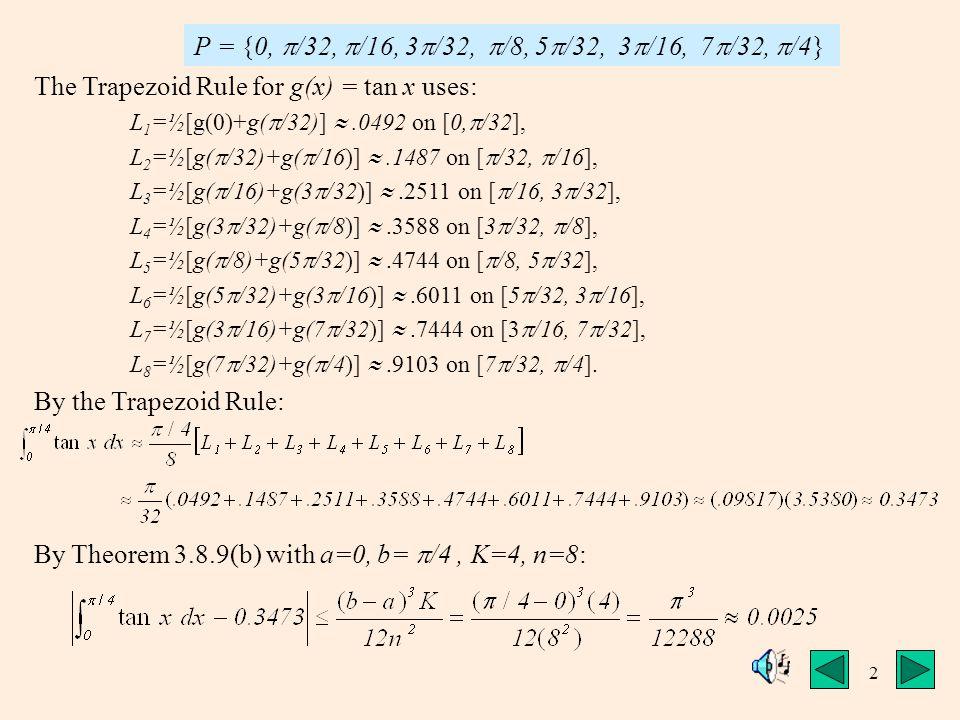 2 The Trapezoid Rule for g(x) = tan x uses: L 1 =½[g(0)+g(  /32)] .0492 on [0,  /32], L 2 =½[g(  /32)+g(  /16)] .1487 on [  /32,  /16], L 3 =½[g(  /16)+g(3  /32)] .2511 on [  /16, 3  /32], L 4 =½[g(3  /32)+g(  /8)] .3588 on [3  /32,  /8], L 5 =½[g(  /8)+g(5  /32)] .4744 on [  /8, 5  /32], L 6 =½[g(5  /32)+g(3  /16)] .6011 on [5  /32, 3  /16], L 7 =½[g(3  /16)+g(7  /32)] .7444 on [3  /16, 7  /32], L 8 =½[g(7  /32)+g(  /4)] .9103 on [7  /32,  /4].