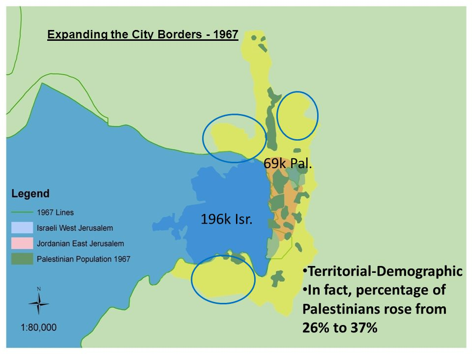 Expanding the City Borders - 1967 Territorial-Demographic In fact, percentage of Palestinians rose from 26% to 37% 196k Isr.
