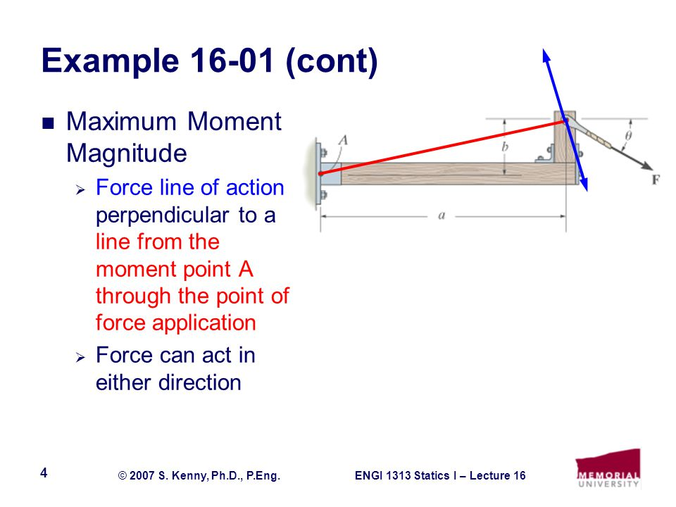 ENGI 1313 Statics I – Lecture 16© 2007 S.Kenny, Ph.D., P.Eng.