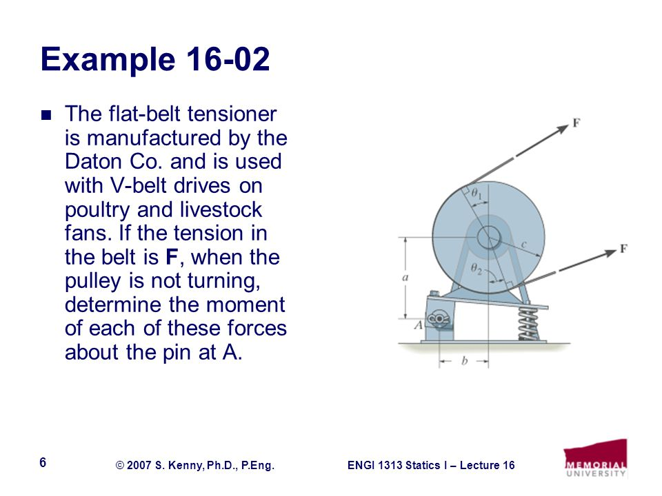ENGI 1313 Statics I – Lecture 16© 2007 S. Kenny, Ph.D., P.Eng.