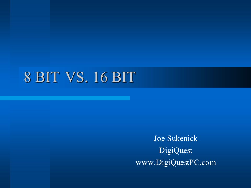 Considerations for editing in 16 bit… * When exposure, curves, or levels must be adjusted beyond a minor tweak The greater the adjustment, the more risk of image degradation and the more benefit you will see with 16 bit.