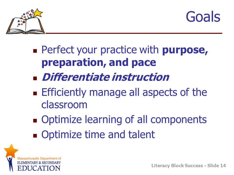 Literacy Block Success - Slide 14 Goals Perfect your practice with purpose, preparation, and pace Differentiate instruction Efficiently manage all asp