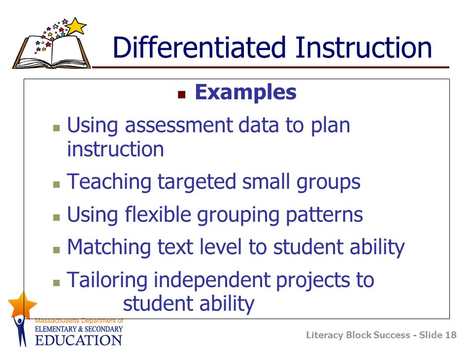 Literacy Block Success - Slide 18 Differentiated Instruction Examples Using assessment data to plan instruction Teaching targeted small groups Using flexible grouping patterns Matching text level to student ability Tailoring independent projects to student ability