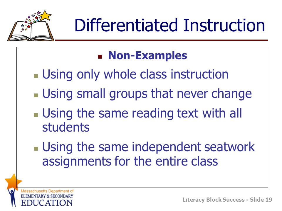 Literacy Block Success - Slide 19 Differentiated Instruction Non-Examples Using only whole class instruction Using small groups that never change Using the same reading text with all students Using the same independent seatwork assignments for the entire class