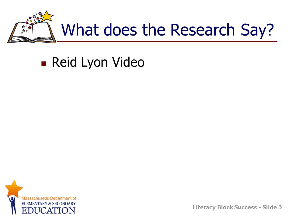 Literacy Block Success - Slide 3 What does the Research Say? Reid Lyon Video