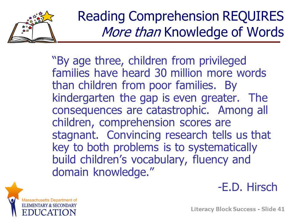"Literacy Block Success - Slide 41 Reading Comprehension REQUIRES More than Knowledge of Words ""By age three, children from privileged families have he"