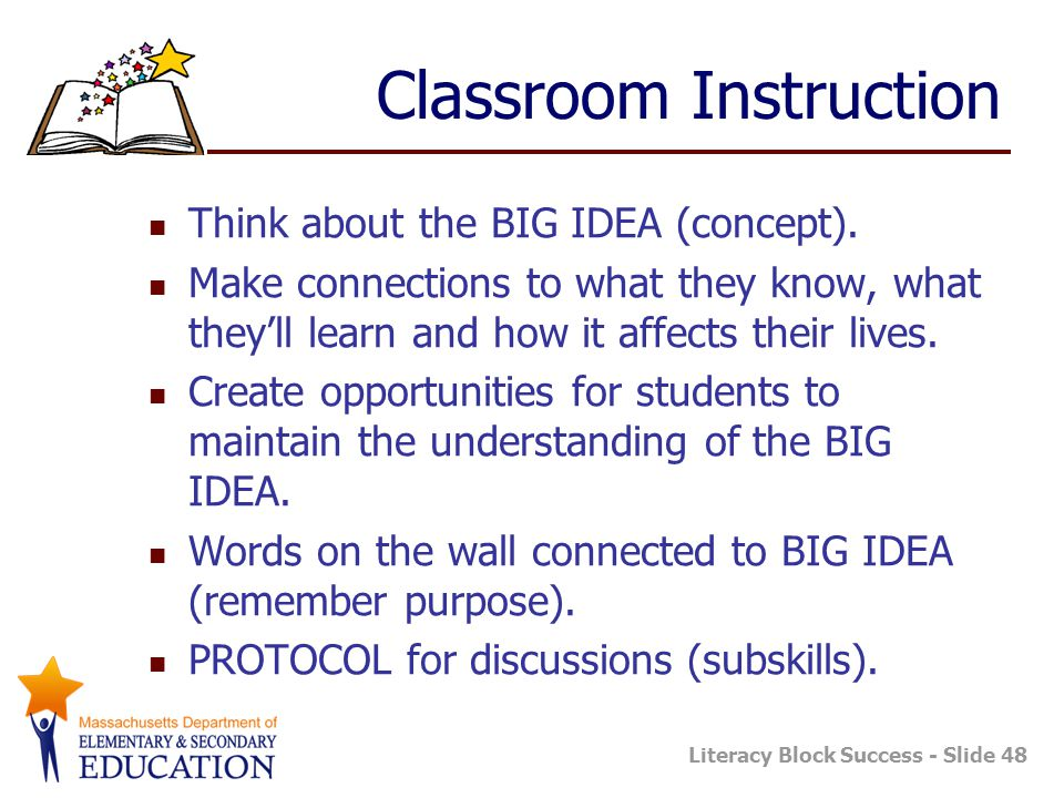 Literacy Block Success - Slide 48 Classroom Instruction Think about the BIG IDEA (concept). Make connections to what they know, what they'll learn and