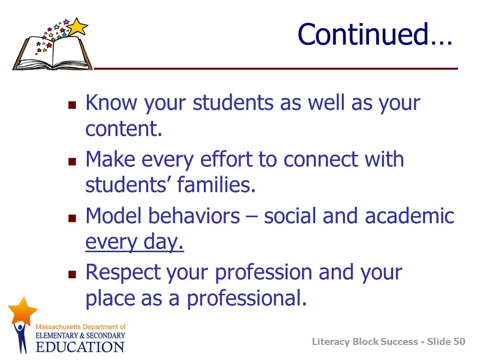 Literacy Block Success - Slide 50 Continued… Know your students as well as your content. Make every effort to connect with students' families. Model b