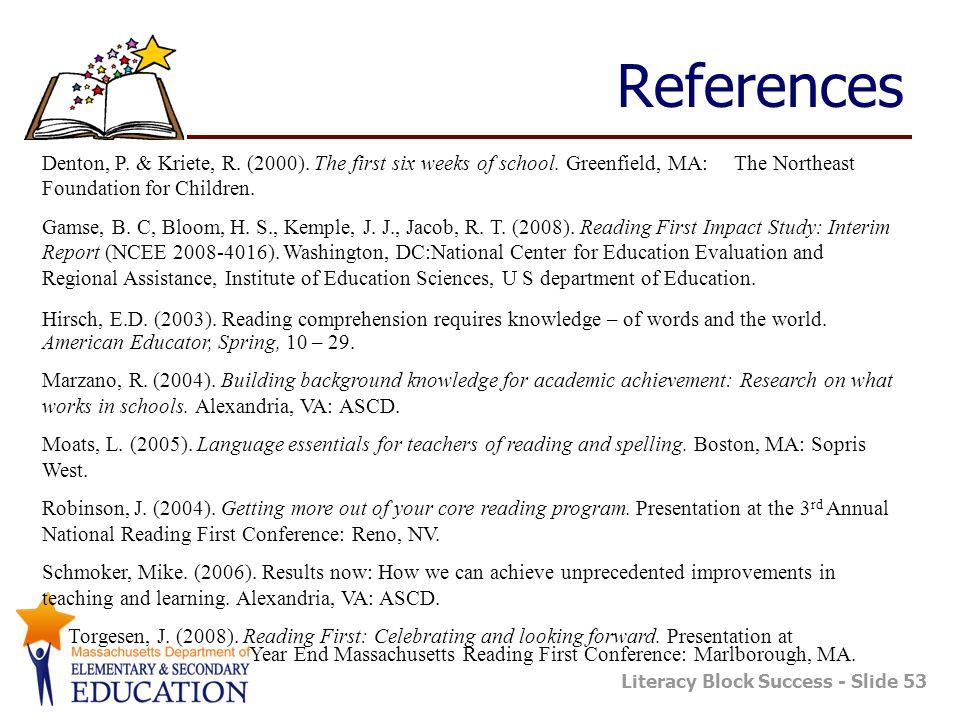 Literacy Block Success - Slide 53 References Denton, P.