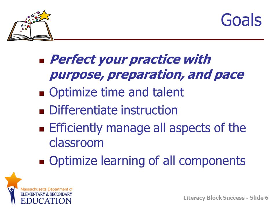 Literacy Block Success - Slide 6 Goals Perfect your practice with purpose, preparation, and pace Optimize time and talent Differentiate instruction Efficiently manage all aspects of the classroom Optimize learning of all components