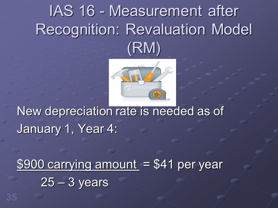 35 IAS 16 - Measurement after Recognition: Revaluation Model (RM) New depreciation rate is needed as of January 1, Year 4: $900 carrying amount = $41